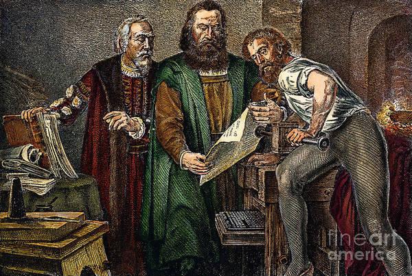 German Renaissance Drawing - Johann Gutenberg by Granger