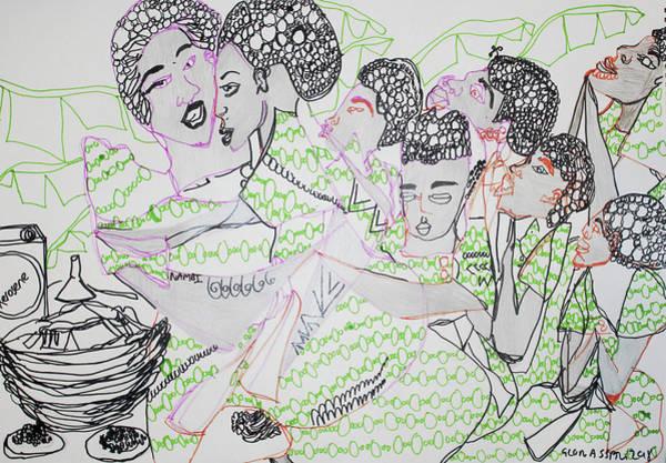 Painting - Kintu And Nambi Kasuze Katya by Gloria Ssali