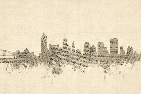Wall Art - Digital Art - Memphis Tennessee Skyline by Michael Tompsett