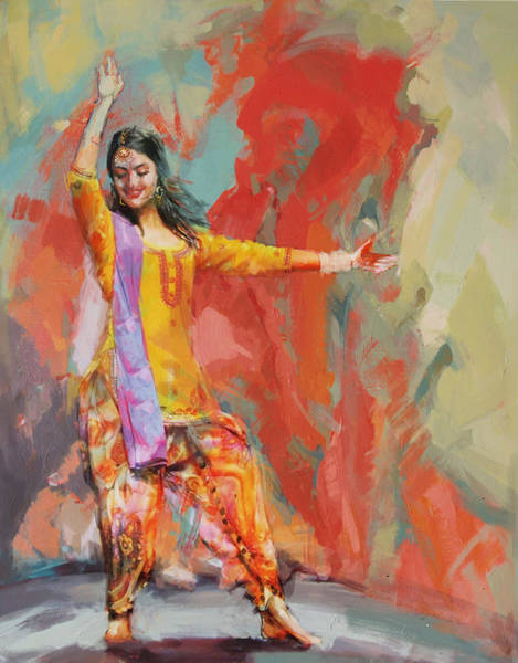 Dance Painting - 11 Pakistan Folk Punjab by Maryam Mughal