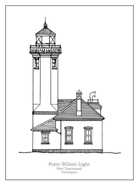 Wall Art - Drawing - Point Wilson Lighthouse - Washington - Blueprint Drawing by JESP Art and Decor