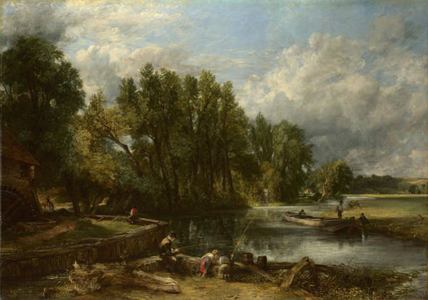 Angler Art Painting - Stratford Mill by John Constable