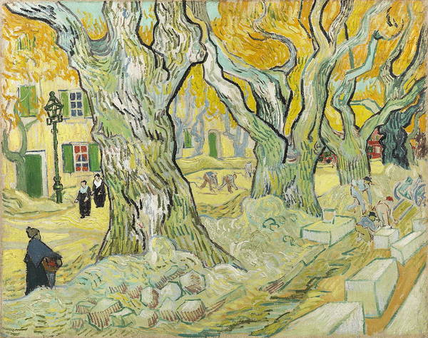 Traffic Signals Painting - The Road Menders by Vincent van Gogh