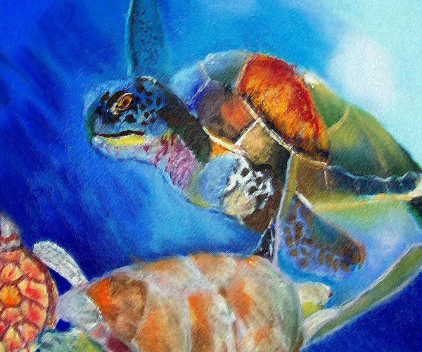 Painting - 111815 Green Sea Turtle by Garland Oldham