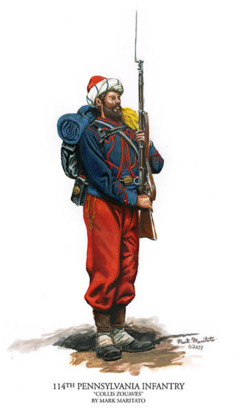 Wall Art - Painting - 114th Pennsylvania Infantry - Collis Zouaves by Mark Maritato