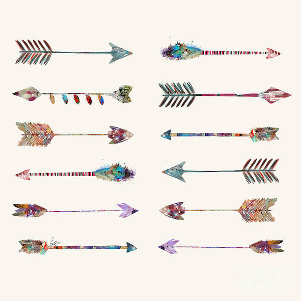 Native American Wall Art - Painting - 12 Arrows by Bri Buckley
