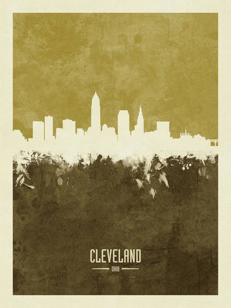 Wall Art - Digital Art - Cleveland Ohio Skyline by Michael Tompsett