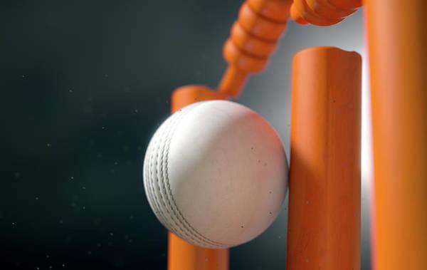 Fragment Digital Art - Cricket Ball Hitting Wickets by Allan Swart