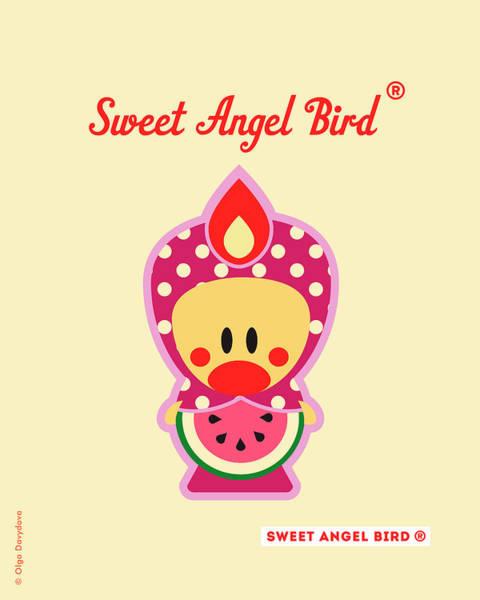 Digital Art - Cute Art - Sweet Angel Bird Watermelon Fruit Matryoshka Costume Wall Art Print by Olga Davydova