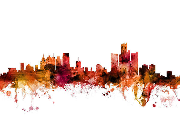 Detroit Wall Art - Digital Art - Detroit Michigan Skyline by Michael Tompsett