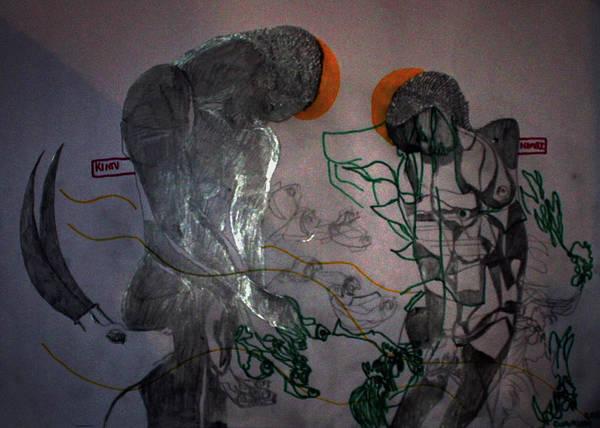 Painting - Kintu And Nambi First Encounters Royal Kingdom Of Buganda by Gloria Ssali