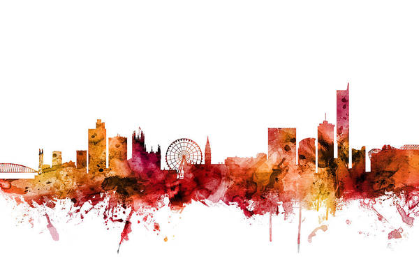 Manchester Skyline Wall Art - Digital Art - Manchester England Skyline by Michael Tompsett