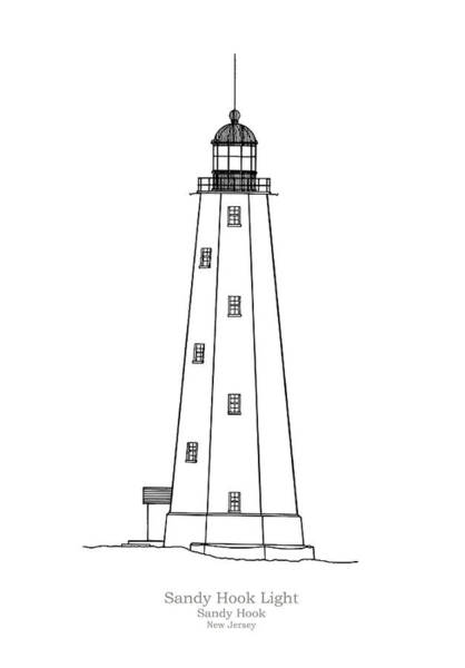 Hook Drawing - Sandy Hook Lighthouse - New Jersey - Blueprint Drawing by JESP Art and Decor