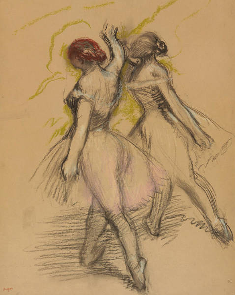 Pastel - Two Dancers by Edgar Degas