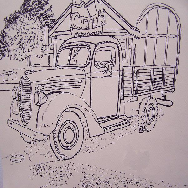 Digital Art - 120911 Digital Ink Old Truck by Garland Oldham