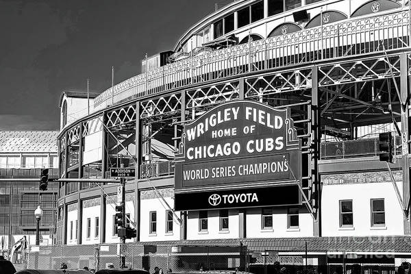 Wall Art - Photograph - 1283 Wrigley Field Black And White by Steve Sturgill