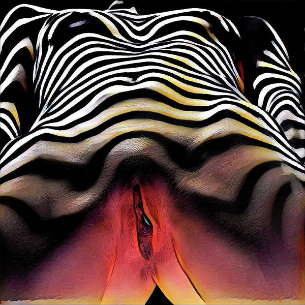 Digital Art - 1290s-ak Aroused Woman Vulval Portrait Zebra Striped Woman Rendered In Pastel Style by Chris Maher