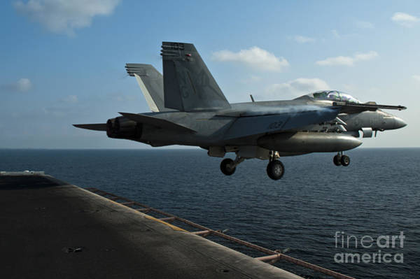 Uss Hornet Painting - 12an F A-18f Super Hornet Launches by Celestial Images