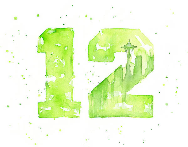 Fan Painting - 12th Man Seahawks Art Go Hawks by Olga Shvartsur