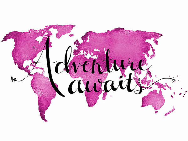World Traveler Wall Art - Digital Art - 12x16 Adventure Awaits Pink Map by Michelle Eshleman