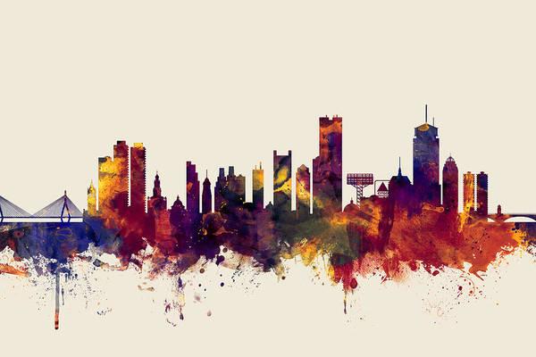 Wall Art - Digital Art - Boston Massachusetts Skyline by Michael Tompsett