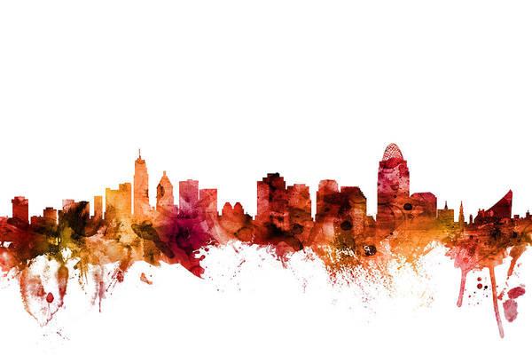 Cincinnati Wall Art - Digital Art - Cincinnati Ohio Skyline by Michael Tompsett