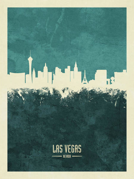Las Vegas Wall Art - Digital Art - Las Vegas Nevada Skyline by Michael Tompsett
