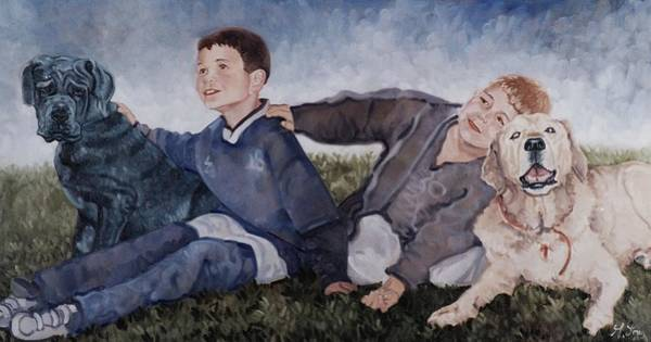 Painting - Two Boys With Two Dogs by Gary M Long