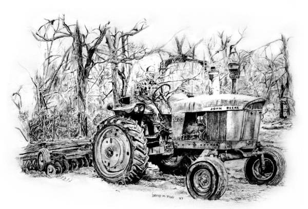 Old Tractor Drawing - John Deere 3020 by David M Pigg