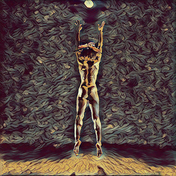 Digital Art - 1306s-zak Fit Nude Dancer Jumping Up Rendered In The Style Of Antonio Bravo  by Chris Maher