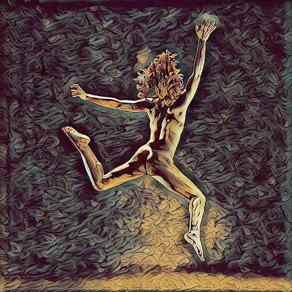 Digital Art - 1307s-dancer Leap Fit Black Woman Bare And Free by Chris Maher