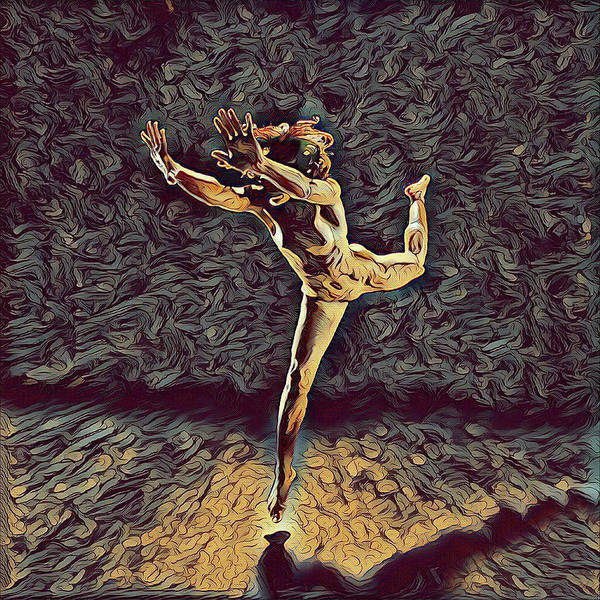 Digital Art - 1315s-zac Beautiful Nude Dancer Leaping Rendered  In The Style Of Antonio Bravo by Chris Maher