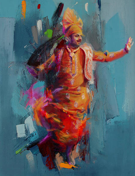 Ajrak Painting - 13pakistan Folk Punjab B by Mahnoor Shah