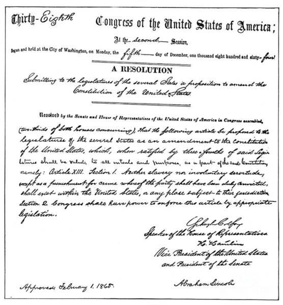 Republican Photograph - 13th Amendment, 1865 by Granger