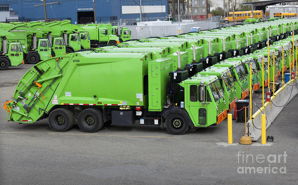 Wall Art - Photograph - Garbage Truck Fleet by Don Mason