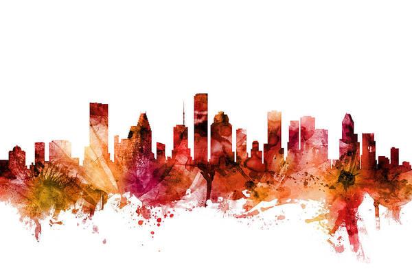 Texas Digital Art - Houston Texas Skyline by Michael Tompsett