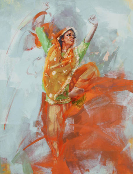 Ajrak Painting - 14 Pakistan Folk Punjab B by Mahnoor Shah