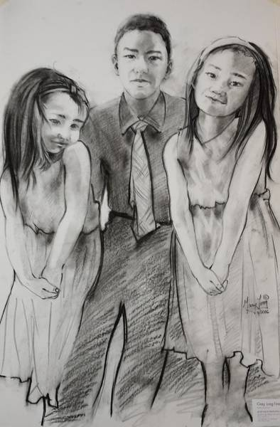 Drawing - Brother With Two Sisters by Gary M Long