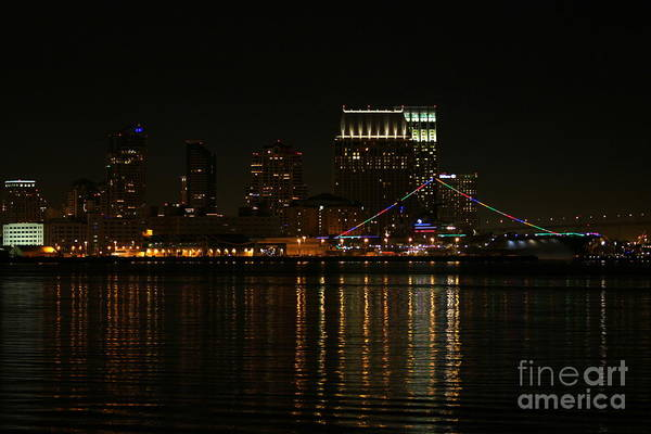 Photograph - San Diego Skyline Night by Henrik Lehnerer