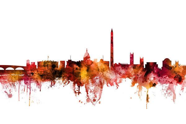 Dc Wall Art - Digital Art - Washington Dc Skyline by Michael Tompsett
