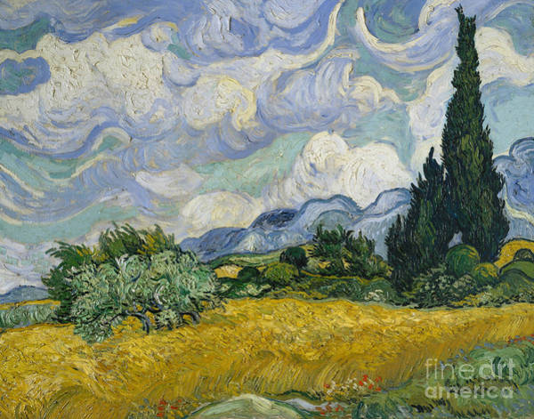 Wall Art - Painting - Wheat Field With Cypresses by Vincent Van Gogh
