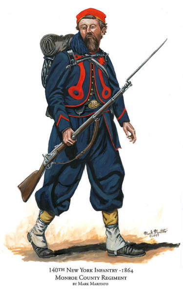 Wall Art - Painting - 140th New York Infantry Zouave - Monroe County Regiment by Mark Maritato