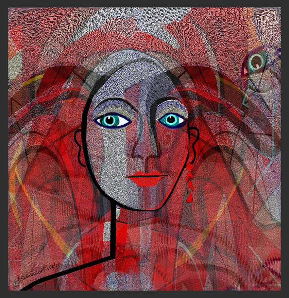 Cubic Digital Art - 1459 Cubic Lady Face by Irmgard Schoendorf Welch