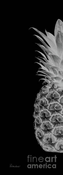Photograph - 14bl Artistic Glowing Pineapple Digital Art Greyscale by Ricardos Creations