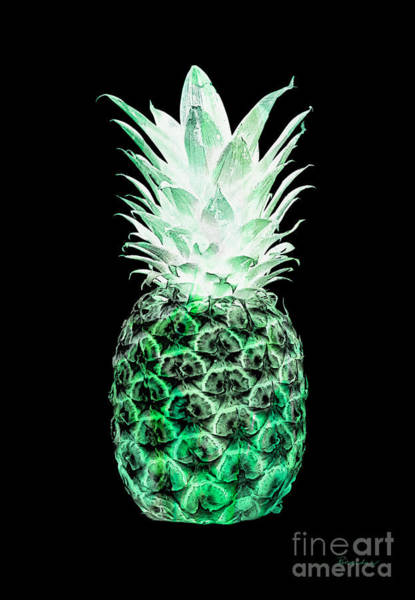 Photograph - 14k Artistic Glowing Pineapple Digital Art Green by Ricardos Creations