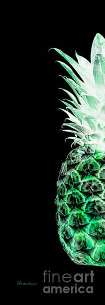 Photograph - 14kl Artistic Glowing Pineapple Digital Art Green by Ricardos Creations