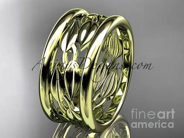 Wall Art - Jewelry - 14kt Yellow Gold Leaf And Vine Wedding Ring, Engagement Ring, Wedding Band Adlr293g by AnjaysDesigns com