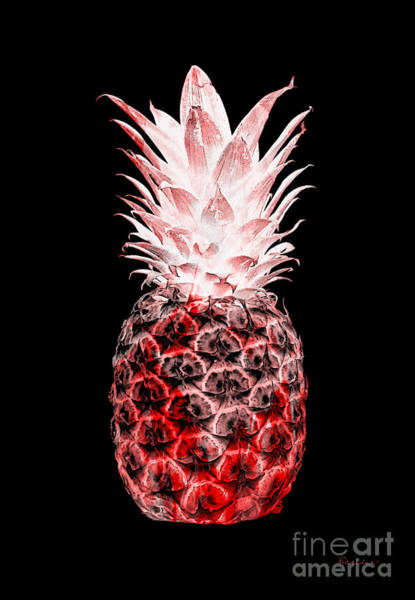 Photograph - 14l Artistic Glowing Pineapple Digital Art Red by Ricardos Creations