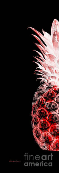 Photograph - 14ll Artistic Glowing Pineapple Digital Art Red by Ricardos Creations