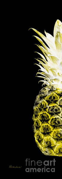 Photograph - 14nl Artistic Glowing Pineapple Digital Art Yellow by Ricardos Creations